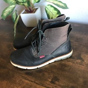 Mens Levis Black & Gray Fabric & Leather Lace Up Boots